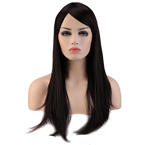 Heat Resistant Synthetic Wig Japanese Kanekalon Fiber 10 Colors Full Wig with Bangs Long Straight Full Head for Women Girls Lady Fashion and Beauty 23'' / 58cm (Natural (Sexy Updo)