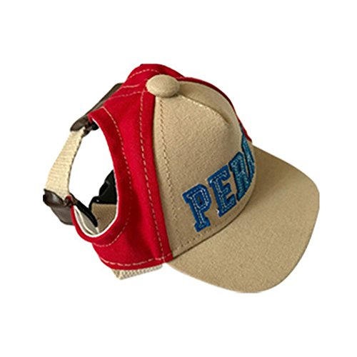 Pet Cap, Hunzed Summer Pet Dog Cute Alphabet Cap Baseball Hat Small Dog Outdoor Protection Hat With Ear Holes (S, Red) Dog Ear Cap