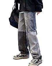 Splicing Wide Been Jeans Mannen Koreaanse Rechte Losse Jeugd Trend Casual Drop Broek Mannelijke/Dames Hip Hip Cargo Broeken