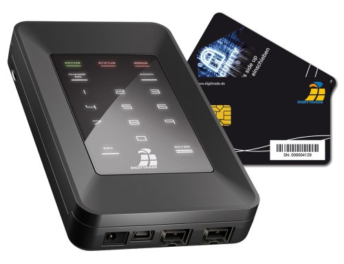 Digittrade HS128 500GB SSD externe High Security Festplatte 2,5 Zoll mit 128-Bit AES Hardwareverschlüsselung, Smartcard and PIN