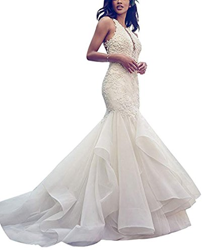 75d85a713a0 Ri Yun Women s Strapless Mermaid Wedding Dresses Ball Gown Backless V Neck  Wedding Dresses for Bride 2018 with Lace Appliques