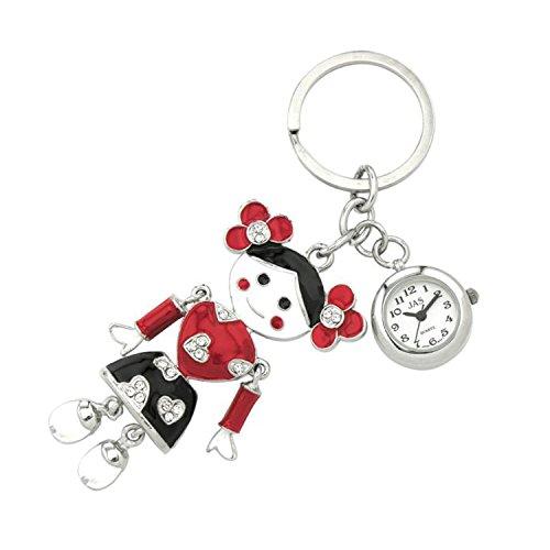JAS Unisex Novelty Belt Fob/Keychain Watch Lassock Silver Tone (Raggedy Ann Charm)