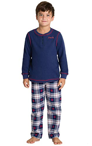 PajamaGram Personalized Plaid Flannel Long-Sleeve Pajamas, Blue, Big Boys 14
