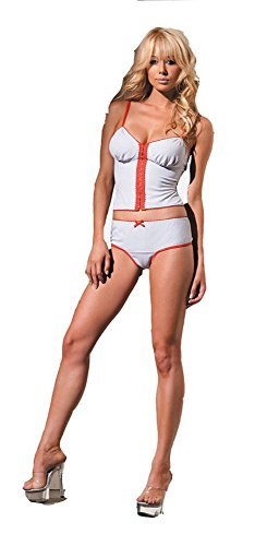 (Stretchy Pinstripe Bustier and Boyshort- One Size)