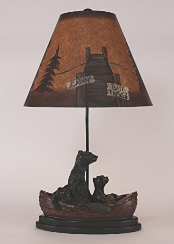 - Bear Family in Canoe Table Lamp with Painted Shade