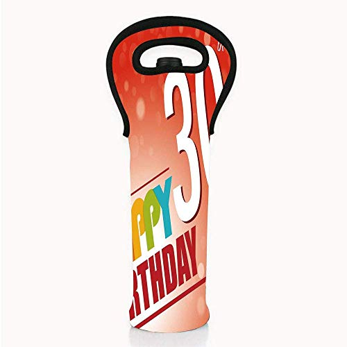 Neoprene Wine/Water Bottle tote bags, 30th Birthday Decorations,Invitation to Birthday Party in Colorful Retro Style Poster Image,Multicolor,Fit for Champagne,Wine,Beer Bottles,Drinks ()