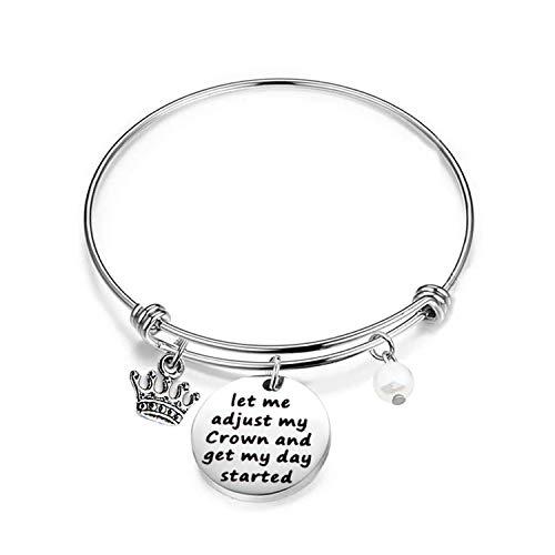 WUSUANED Inspirational Bracelet Gift Let Me Adjust My Crown and Get My Day Started (let me Adjust My Crown)