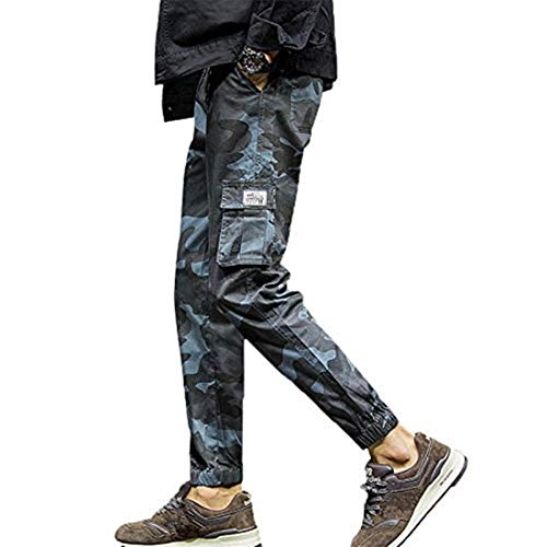 - Wide Leg Trousers Women,Mens Fashion Camouflage Pocket Nine Points Small Feet Looser Casual Pant,Men's Work & Safety Clothing,Blue,XL