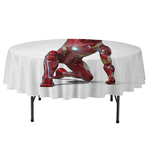 Curioly Superhero Waterproof Anti-Wrinkle no Pollution Robot Transformer Hero with Superpower in Costume Cyber Man Fun Character Print Round Tablecloth D51 Inch White Maroon]()