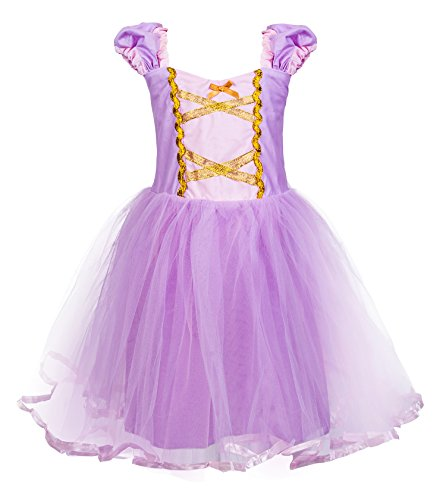 Princess Cinderella Rapunzel Little Mermaid Dress Costume for Baby Toddler Girl (5, Rapunzel) ()