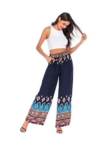 Love Welove Fashion Women's Summer Wide Leg Elastic High Waist Printed Boho Hippie Palazzo Pants Plus Size (S, Navy Diamond) ()