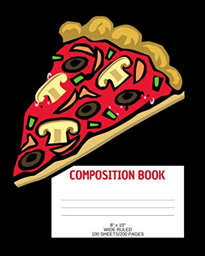 "Composistion Book: Pizza; wide ruled; 100 sheets/200 pages; 8"" x 10"" by Atkins Avenue Books"