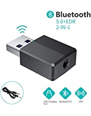 FLYLAND Bluetooth Adapter, Wireless Audio Transceiver and Receiver 2 in 1 5.0 Transmitter with 3.5 mm Digital Aux Cable for PC,TV,Headphones,Speakers,Radio, CD Player Headset, Keyboard, etc