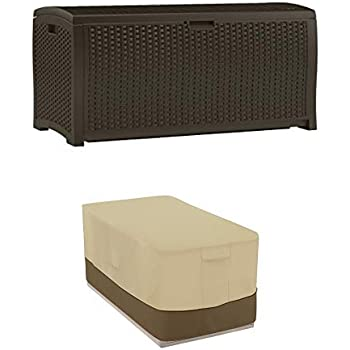 Amazon Com Suncast 99 Gallon Resin Wicker Patio Storage