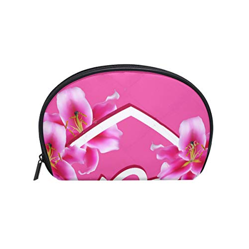 Cosmetic Bag Happy Mother's Day Mom Alphabet In Heart Shaped Pink Lily Flowers Customized Shell Makeup Bags Organizer Portable Pouch for ()