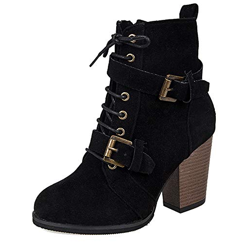 (Women Warm Suede Buckle Short Boots Chunky High Heel Zipper Lace-Up Boots Winter Ankle Booties Solid Color Shoes (Black, US:8.5))