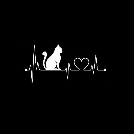 Yoyoyu Vinyl Wall Decal gatos electrocardiograma corazón mascota ...
