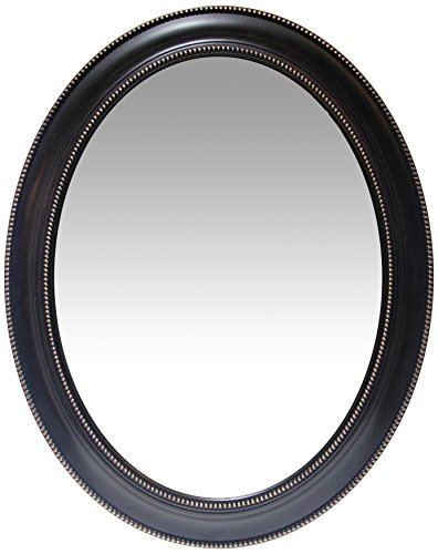 Infinity Instruments Sonore 30 inch Black Oval Wall Mirror | Decorative Frame - Bathroom Victorian Black Mirrors