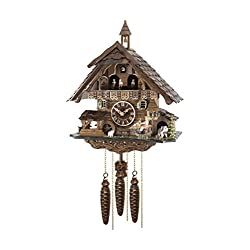 ISDD Quartz Cuckoo Clock Black Forest house with moving wood chopper and mill wheel, with music EN 483 QMT