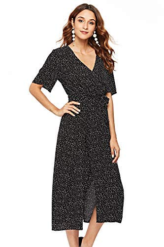 Floral Wrap Chiffon (Escalier Women's Summer Floral Print Faux Wrap Maxi Long Dresses with Belt)