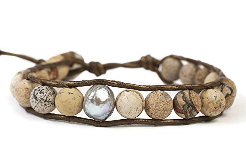 Chan Luu Brown Mineral Stone and Grey Simulated Pearl Beaded Mix Silvertone Single Wrap Bracelet Style
