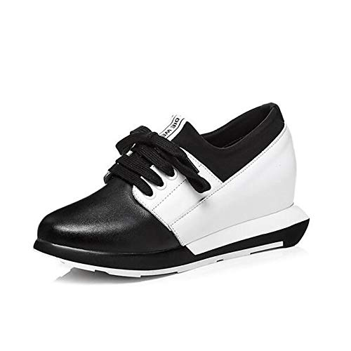 Mujer Blanco ZHZNVX White Heel Round Comfort Sneakers de Toe Nappa Flat Zapatos Leather Spring q7aB7EOr