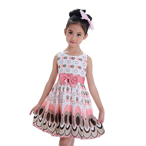 Clearance! ZOMUSA Kids Girls Bow Belt Sleeveless Bubble Peacock Dress Party Clothing (6 Years, (Girls Clearance Dresses)