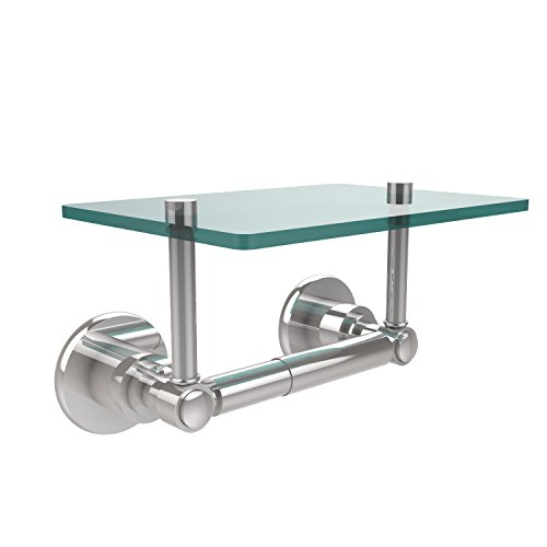 (Allied Brass WS-GLT-24-PC Washington Square Collection Two Post Toilet Tissue Holder with Glass Shelf Polished Chrome )