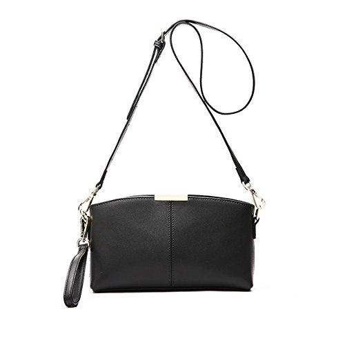 Small Shoulder Bag Real Leather Fashion Casual Women's Handbag Shoulder Bag Crossbody Bag Black Mini Black