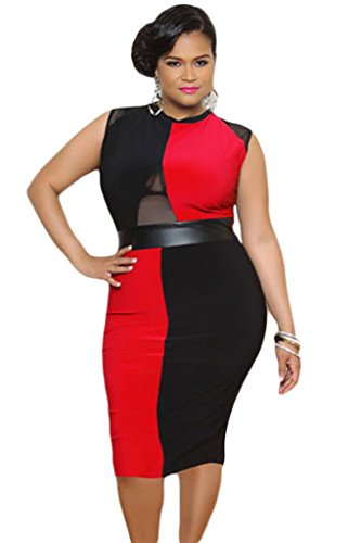 New Ladies Plus Size rojo y negro Midi Vestido Casual Evening Party Wear Plus Talla XXXL UK 16–�?8