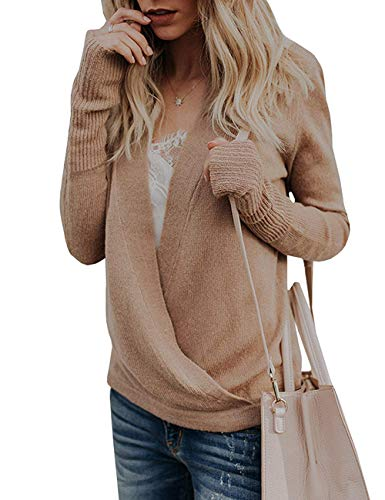 Paris Hill Womens Knitted Deep V-Neck Long Sleeve Wrap Front Loose Sweater Pullover Jumper Tops Khaki Large - Le Top Jumper