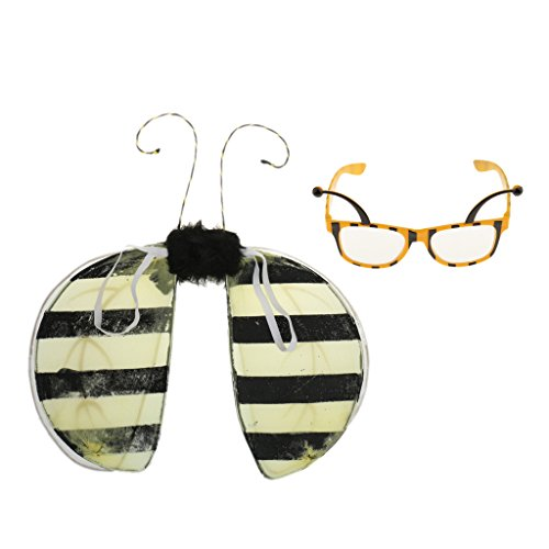 Baoblaze Springtime Unisex Bumble Bee Party Glasses Eyeglasses Fairy Wing Costume Fancy Dress up Photo Props ()