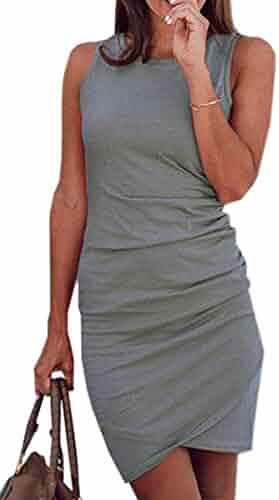80f342766f3 ECOWISH Women s Summer Casual Crew Neck Short Ruched Bodycon Irregular Hem  T Shirt Mini Dress