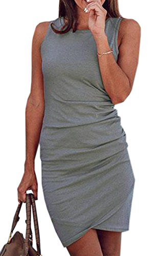 ECOWISH Women's Summer Casual Crew Neck Short Ruched Bodycon Irregular Hem T Shirt Mini Dress 106 Gray L