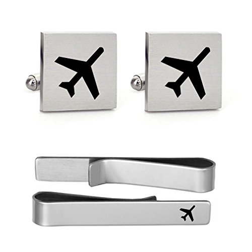 MUEEU Airplane Plane Cufflink Tie Clip Engraved Wedding Birthday Anniversaty Party Groomsman Groom Gift (Anniversary Cufflinks Steel Stainless)