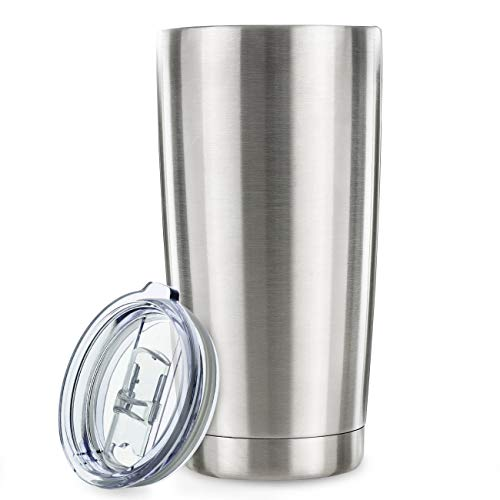 20oz Tumbler Vacuum Insulated Stainless Steel Coffee Cup with Lid, Straws - Travel Mug Works Great for Ice Drink, Hot Beverage (2 pack, Stainless Steel)