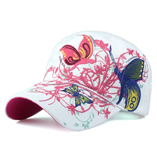 (Woman Butterflies Flowers Embroidery Baseball Caps Summer Fall Caps Fashion Lady Baseball Summer Vintage Hat White)