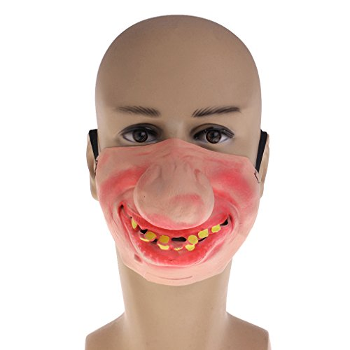 Punk Devil Girl Costume (EA-STONE Novelty Latex Rubber Creepy Halloween Costume Party Grimace Half Face Mask -Big nose)