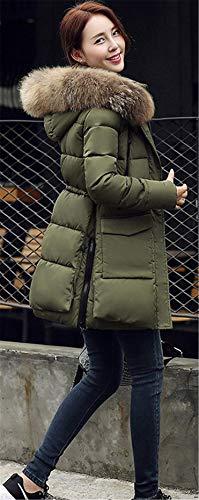 Imbottito Yomie Slim Di Cappuccio Cotone Caldo Militare Tuta Donna Pelliccia Gi�� Verde Casual Cappotto Zipper Con Collo Cappotti Sportiva Inverno rwx6vr1qY