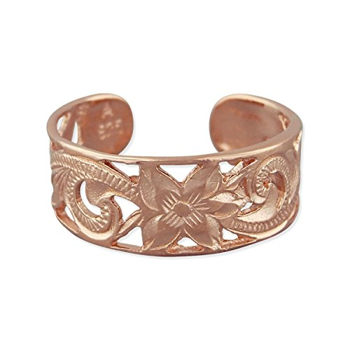 14kt Rose Gold Plated Sterling Silver 6mm Filigree Band Toe Ring (Ring Filigree 14kt)
