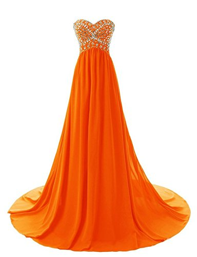 Formal Kleid Abendkleid Evening Women's Fanciest 2016 Dresses Beaded Orange Sweetheart awxYffq8F