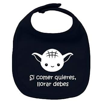 Babero de bebé Si comer quieres, llorar debes (Yoda / Star Wars - parodia). Regalo original. Babero bebé divertido. Bebé friki. (Azul marino)