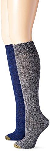 Gold Toe Womens Argyle Wool Texture Knee High Dress Socks (Pack of 2)