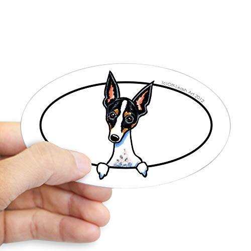 - CafePress Rat Terrier Peeking Bumper Sticker Oval Bumper Sticker, Euro Oval Car Decal