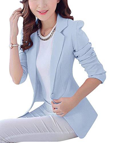 Autunno Puro Button Ufficio Lunga Giacche Giacca Business Colore Donna Slim Manica Blazer Da Giovane Blau Moda Tailleur Women Cappotto Himmel Con Eleganti Tasche Fit Primaverile Tqz68w