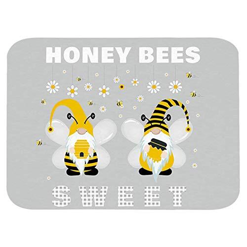 Gerbrief World Bee Day Party Sunflower Print Mats, Kitchen Floor Mat, Bee PrintAbsorbent Standing Mat Kitchen Runner Rug for Entryway Bathroom Living Room Bedroom, 15.7 x 23.6 Inch