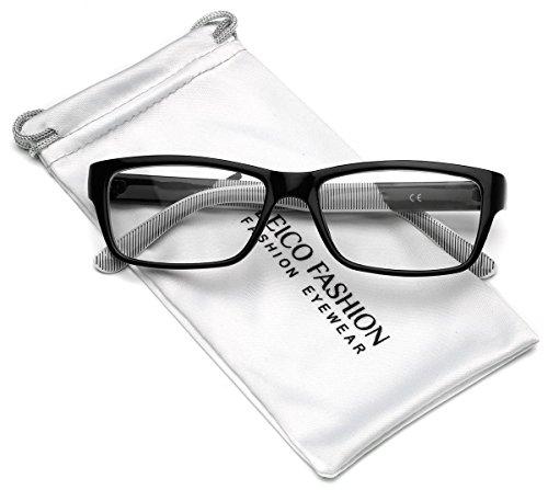 Clear Lens Rectangular Glasses (S-M Size) (Black, - Hipster Cheap Glasses
