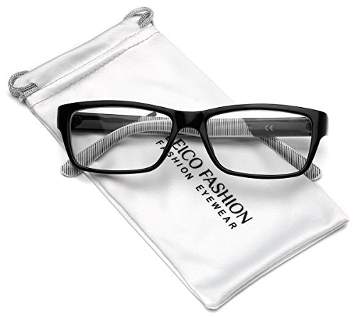 Clear Lens Rectangular Glasses (S-M Size) (Black, 52)