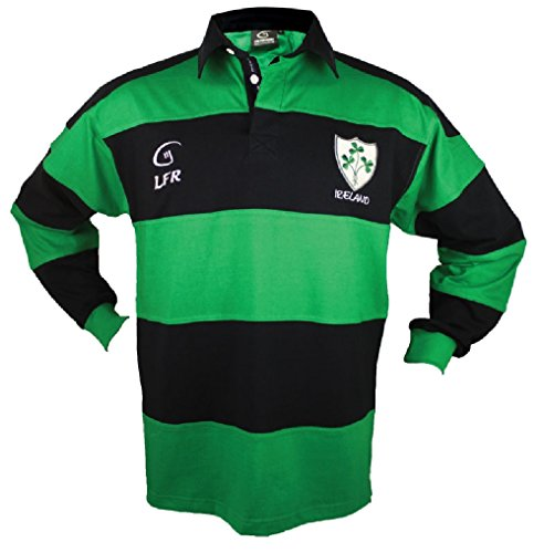 Long sleeve Striped Shamrock Irish Rugby Shirt