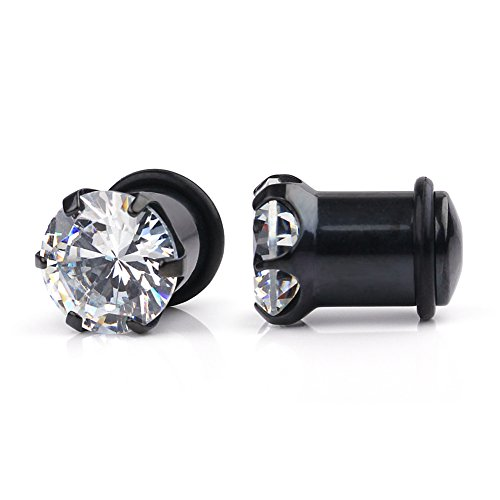 Surgical Steel Single 316l - Ruifan Black Plated 316L Surgical Steel Single Flare Prong Set Clear CZ Ear Stretcher Expander Plugs Piercing Gauge with O-Ring 2G(6mm)- Sold As a Pair